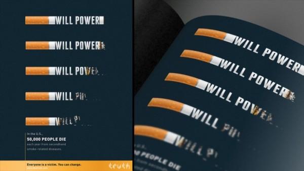 この雑誌広告は2000年代初頭の喫煙についての態度を変えるための米国レガシー財団の強力な「Truth」キャンペーンの一環でした。(© Sean Dockery/Truth Campaign via Flickr Creative Commons)